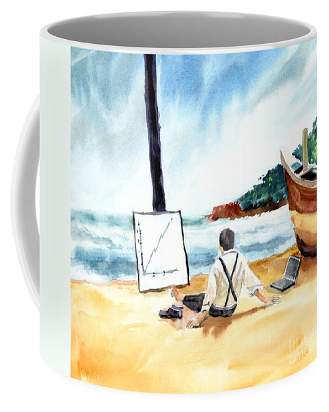 Landscape Coffee Mug featuring the painting Contemplation by Anil Nene