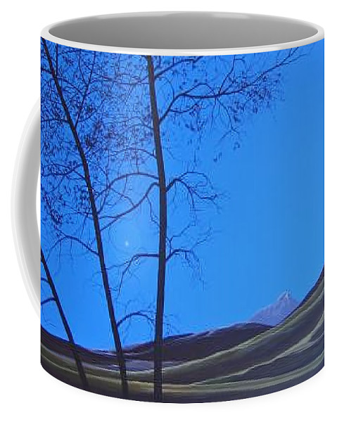 Mountains Coffee Mug featuring the painting Distant Sun by Hunter Jay