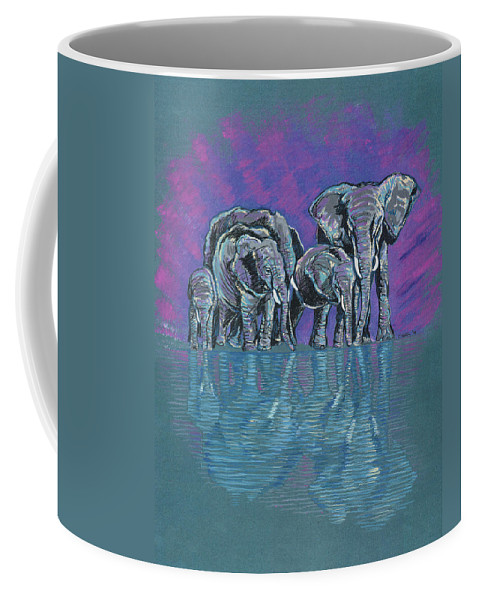 Elephants Coffee Mug featuring the painting Elephant Family by John Keaton