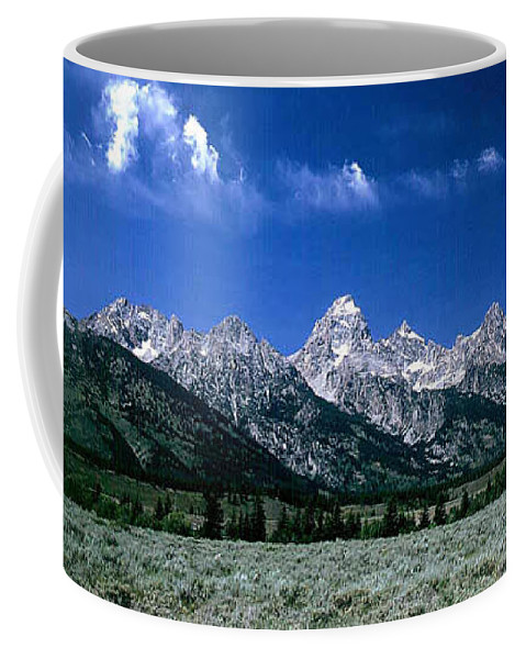 Mountains Coffee Mug featuring the photograph First View Of Tetons by Kathy McClure