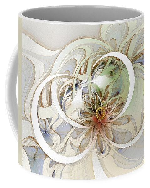 Digital Art Coffee Mug featuring the digital art Floral Swirls by Amanda Moore