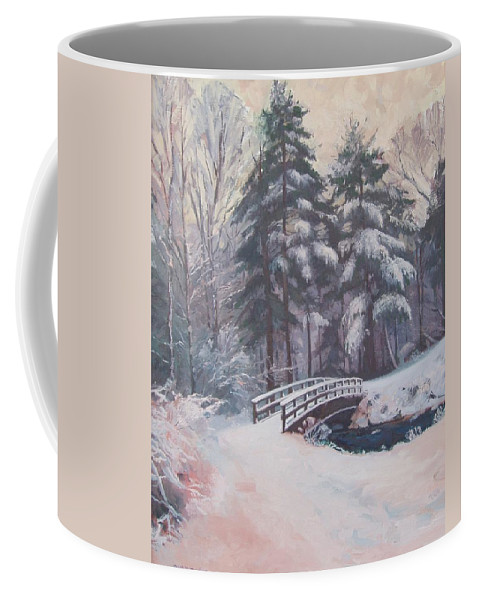 Landscape Coffee Mug featuring the painting Icy Stream by Dianne Panarelli Miller
