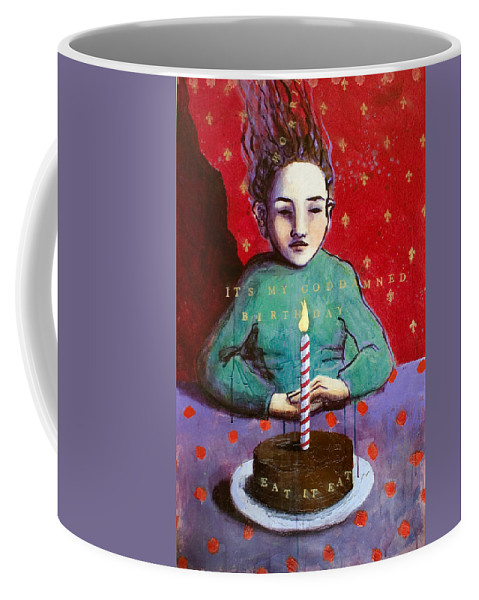 Birthday Coffee Mug featuring the painting Its My Gd Birthday by Pauline Lim