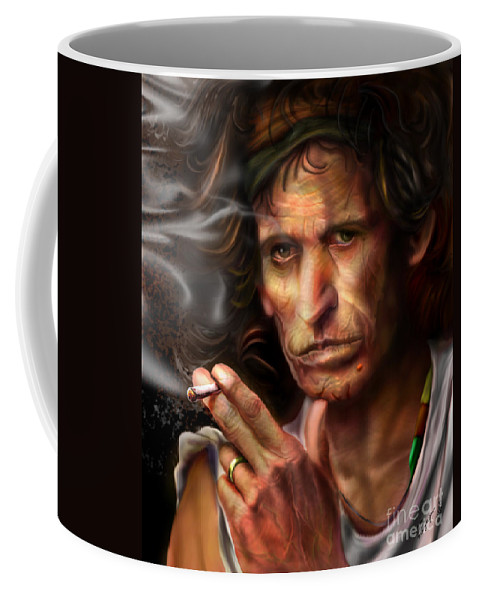 Keith Richards Coffee Mug featuring the painting Keith Richards1-burning Lights 4 by Reggie Duffie