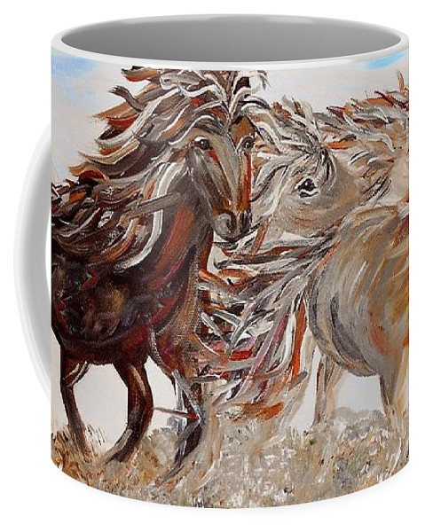Horse Coffee Mug featuring the painting Kicking Up Dust by Eloise Schneider