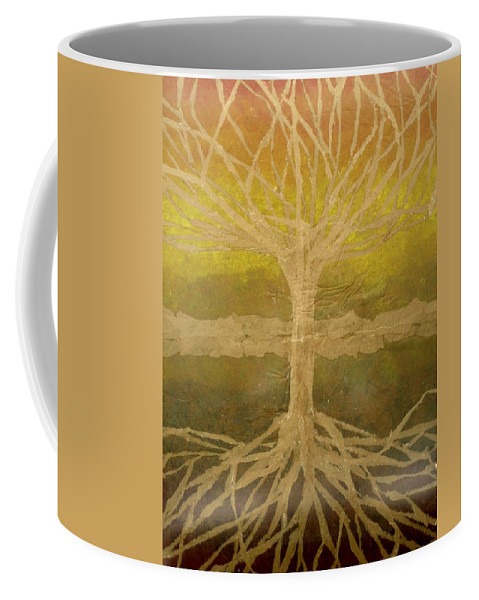 Abstract Coffee Mug featuring the painting Meditation by Leah Tomaino