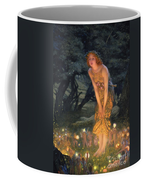 Pre Raphaelite Coffee Mug featuring the painting Midsummer Eve by Edward Robert Hughes