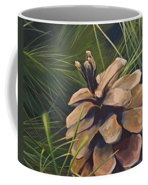 Pinecone Closeup Coffee Mug featuring the painting Mountain Echoes by Hunter Jay