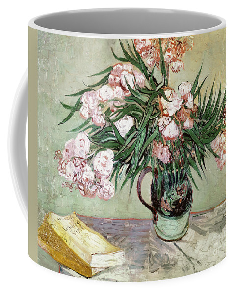 Vincent Van Gogh Coffee Mug featuring the painting Oleanders And Books by Vincent van Gogh