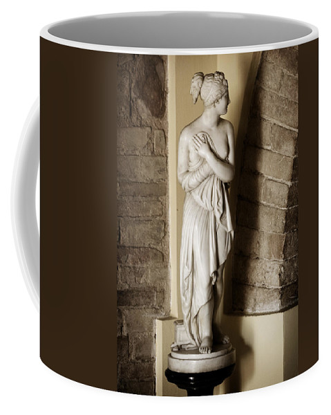 Statue Coffee Mug featuring the photograph Peering Woman by Marilyn Hunt
