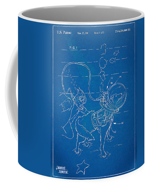 Scuba Coffee Mug featuring the digital art Scuba Doggie Patent Artwork 1893 by Nikki Marie Smith