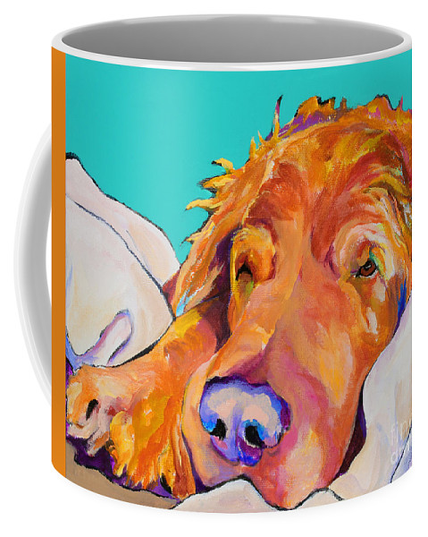Dog Poortraits Coffee Mug featuring the painting Snoozer King by Pat Saunders-White