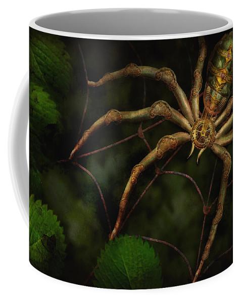 Steampunk Coffee Mug featuring the photograph Steampunk - Spider - Arachnia Automata by Mike Savad