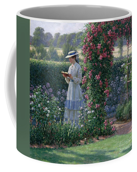 Garden; Reading; Book; Woman; Lawn; Flower;rose; Bed; Hedge; Climbing; Arch; Path Coffee Mug featuring the painting Sweet Solitude by Edmund Blair Leighton