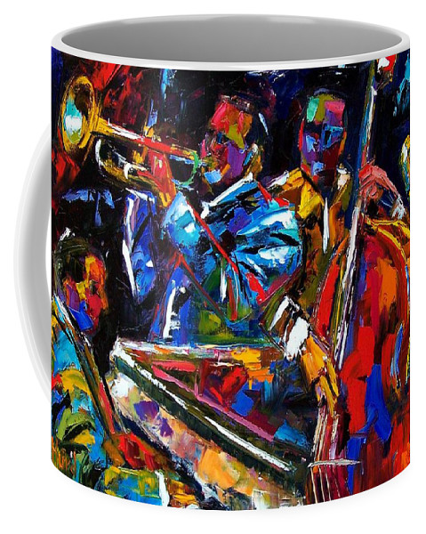 Jazz Coffee Mug featuring the painting The First Set by Debra Hurd