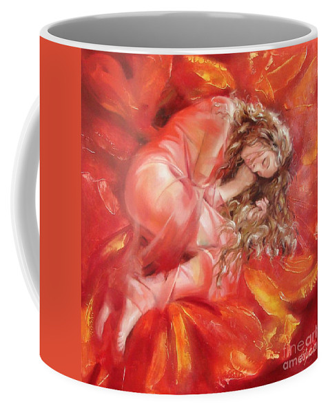 Oil Coffee Mug featuring the painting The Flower Paradise by Sergey Ignatenko