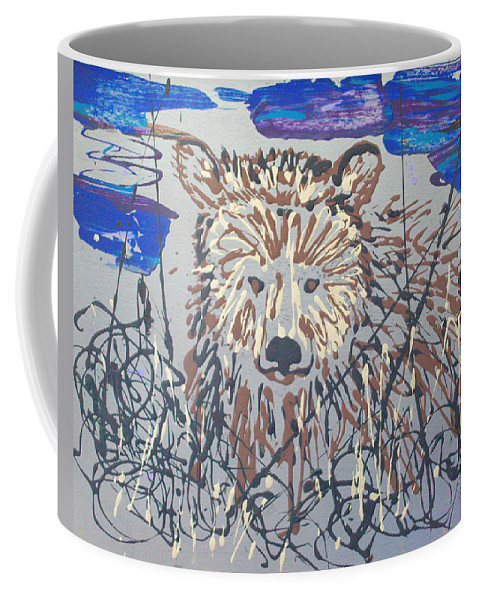 Bear In Bushes Coffee Mug featuring the painting The Kodiak by J R Seymour
