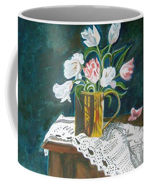 Tulips Coffee Mug featuring the painting Tulips by Manjiri Kanvinde