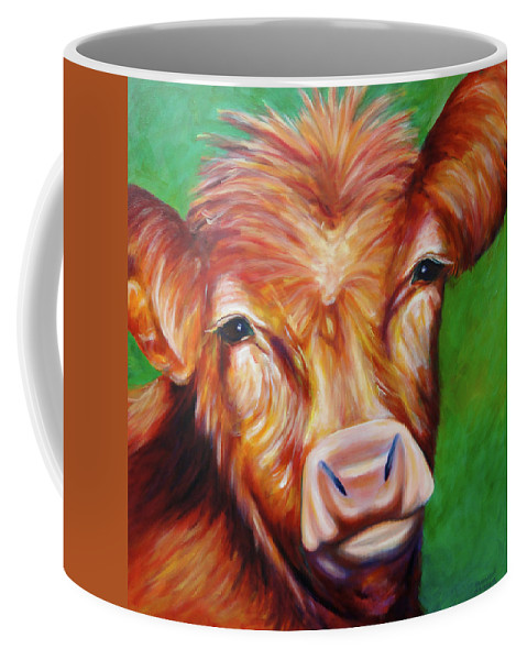 Bull Coffee Mug featuring the painting Van by Shannon Grissom