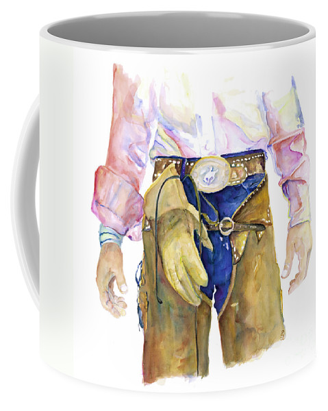 Cowboy Painting Coffee Mug featuring the painting Wrangler by Pat Saunders-White