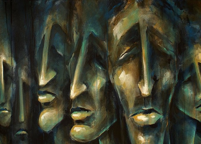 Expressionist Greeting Card featuring the painting ' Jury Of Eight ' by Michael Lang