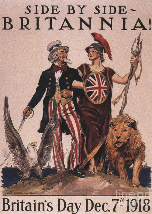 1910�s Greeting Card featuring the drawing 1918 1910s Usa Uncle Sam Ww1 Lions by The Advertising Archives