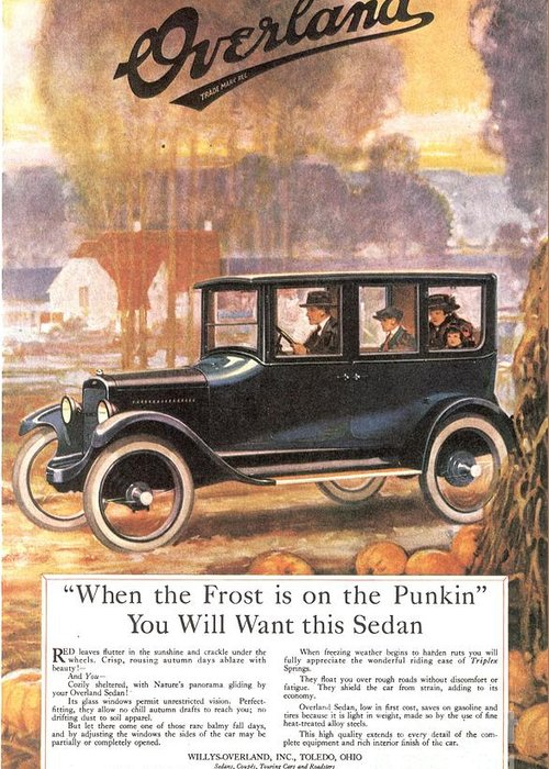 1920�s Greeting Card featuring the drawing 1920s Usa Overland Cars by The Advertising Archives