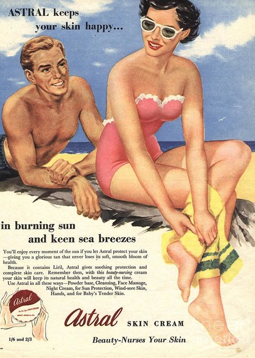 1950�s Greeting Card featuring the drawing 1950s Uk Sun Creams Lotions Tan by The Advertising Archives