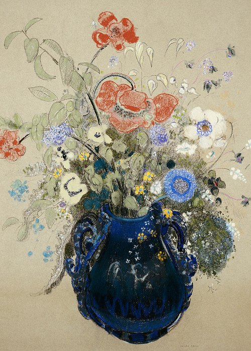 Still Life; Flower Greeting Card featuring the painting A Vase Of Blue Flowers by Odilon Redon
