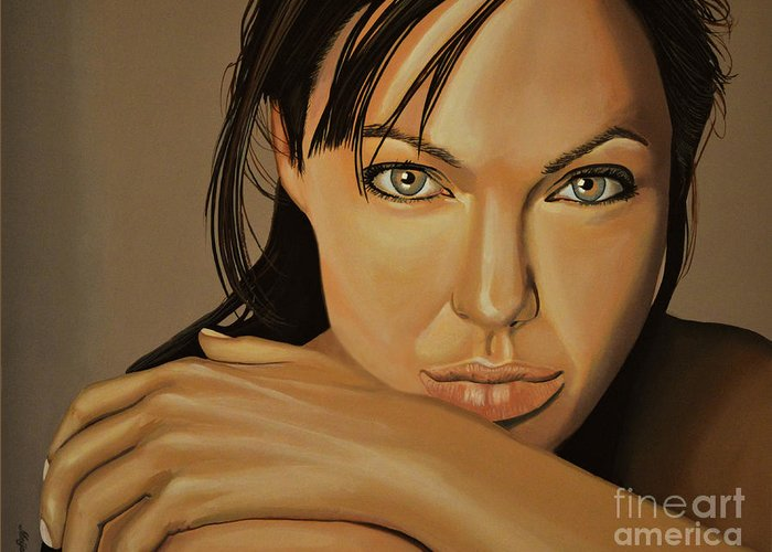 Angelina Jolie Greeting Card featuring the painting Angelina Jolie Voight by Paul Meijering