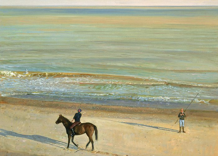 20th; Seaside; Suffolk; Riding; Horse; Rider; Fishing; Rod; Line; Fisherman; Talking; Exchanging Conversation; Sea; Footprints In The Sand Greeting Card featuring the painting Beach Dialogue Dunwich by Timothy Easton