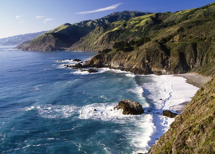 Scenic Greeting Card featuring the photograph Big Sur At Big Creek by George Oze