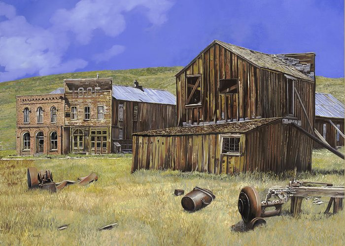 Bodie Greeting Card featuring the painting Ghost Town Of Bodie-california by Guido Borelli