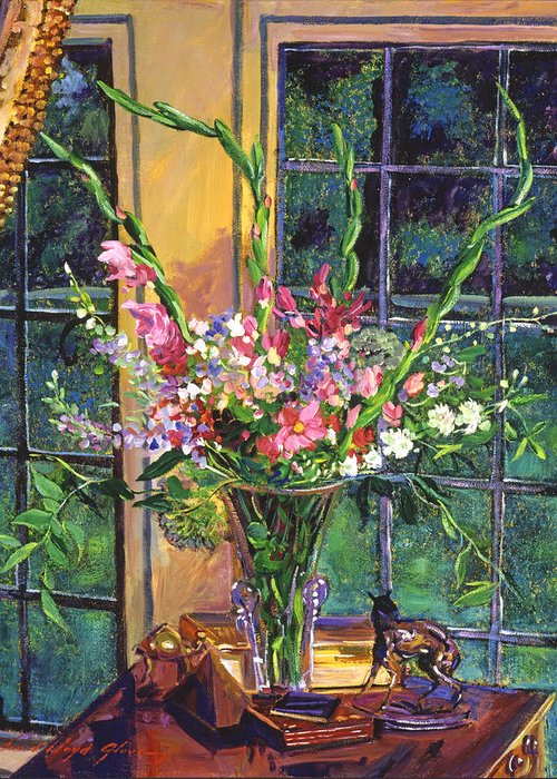 Still Life Greeting Card featuring the painting Gladiola Arrangement by David Lloyd Glover