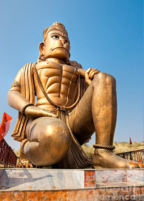 Animal Greeting Card featuring the photograph Great Bronze Hanuman - India by Luciano Mortula