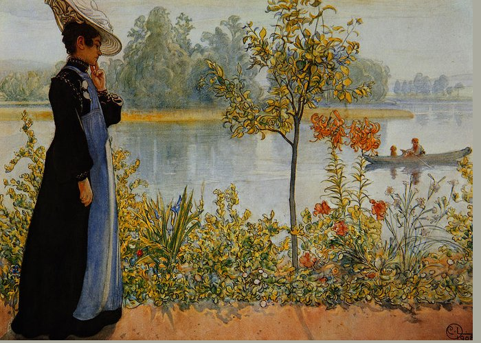Thought Greeting Card featuring the painting Indian Summer by Carl Larsson