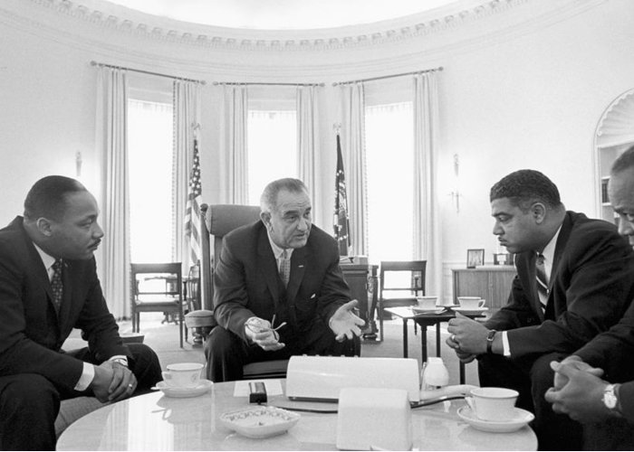 Lyndon; Baines; Johnson; 1908-1973; 36th; President; United; States; Talks; Civil; Rights; Leaders; White; House; Including; Martin; Luther; King; Jr; 1929-1968; Left; American; Politician; Politics; Democratic; Democrat; Christian; Baptist Greeting Card featuring the photograph Lyndon Baines Johnson 1908-1973 36th President Of The United States In Talks With Civil Rights by Anonymous