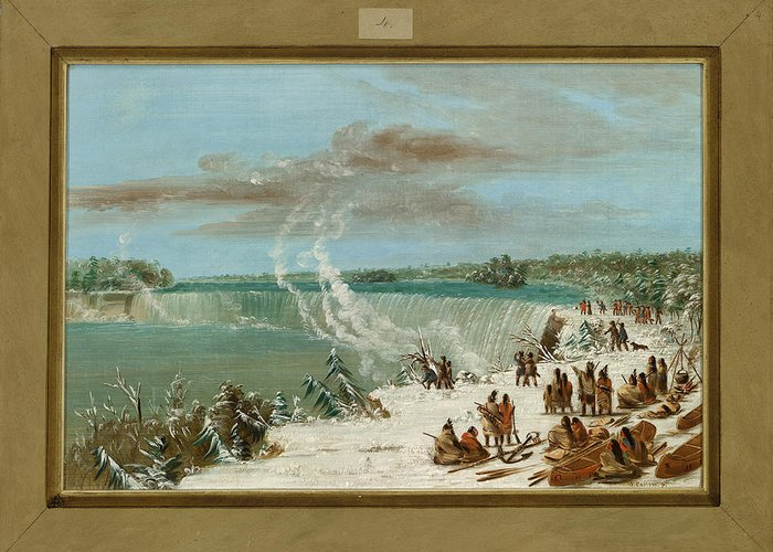 Native; American; Indian; Indians; Camp; Canoes; Canoe; America; Usa; Transporting; Water; Portaging; Waterfall; Waterfalls Greeting Card featuring the painting Portage Around The Falls Of Niagara At Table Rock by George Catlin