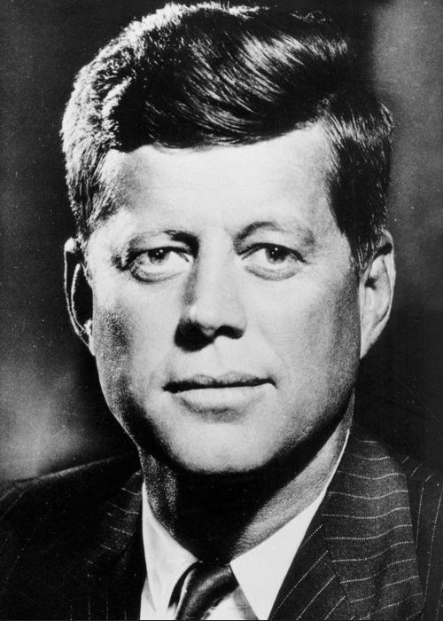Male; American; Politician; Us; Usa; Democrat; John Fitzgerald Kennedy; Jfk; Sixties; 1960s; 60s Greeting Card featuring the photograph Portrait Of John F. Kennedy by American Photographer