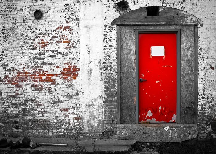 Huxley Greeting Card featuring the photograph Red Door Perception by Bob Orsillo