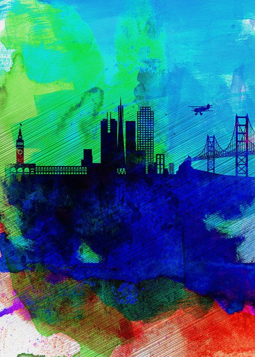 San Francisco Greeting Card featuring the painting San Francisco Watercolor Skyline 2 by Naxart Studio
