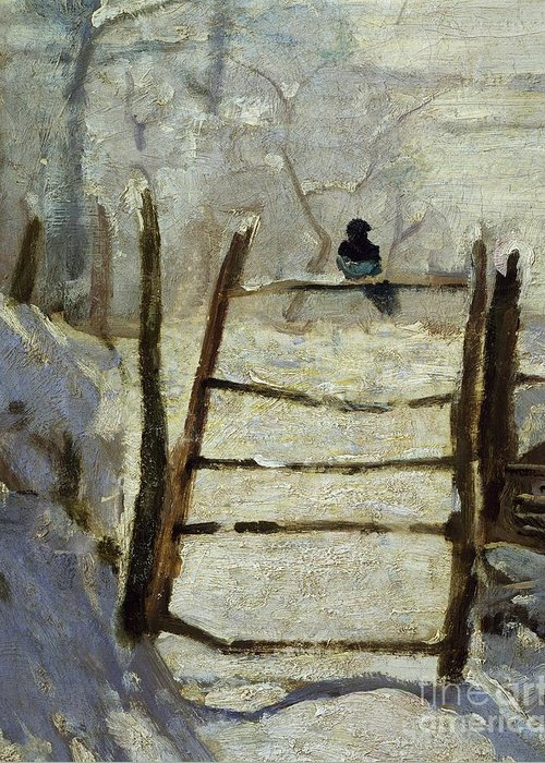 Art; Painting; 19th Century Painting; Seasons; Europe; France; Monet Claude; Winter; Winter Greeting Card featuring the painting The Magpie by Claude Monet