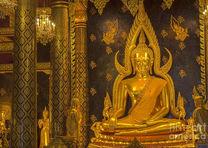 Ancient Greeting Card featuring the photograph The Main Hall Of Wat Thardtong With Golden Buddha Statue by Anek Suwannaphoom