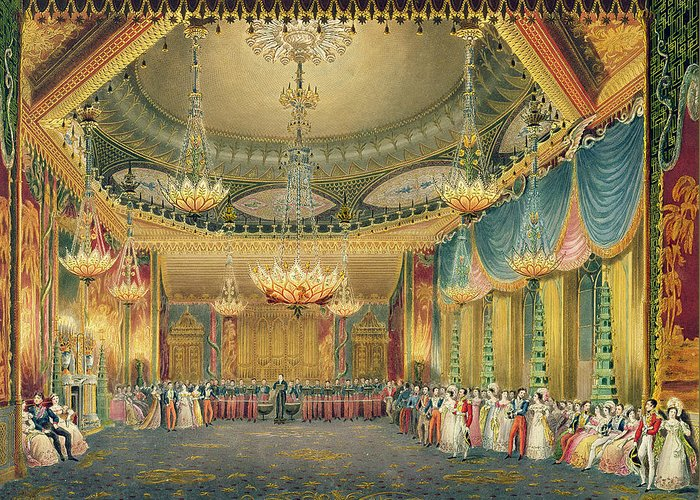 Chandelier Greeting Card featuring the painting The Music Room by English School