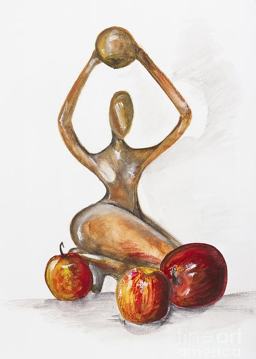 Apples Greeting Card featuring the painting Woman In The African Style With Red Apples by Irina Gromovaja