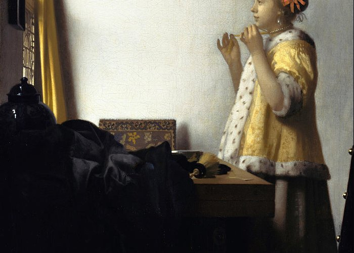 Jan Vermeer Greeting Card featuring the painting Young Woman With A Pearl Necklace by Johannes Vermeer