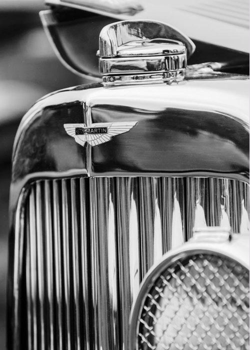 1934 Aston Martin Mark Ii Short Chassis 2/4 Seater Grille Emblem Greeting Card featuring the photograph 1934 Aston Martin Mark II Short Chassis 2-4 Seater Grille Emblem by Jill Reger