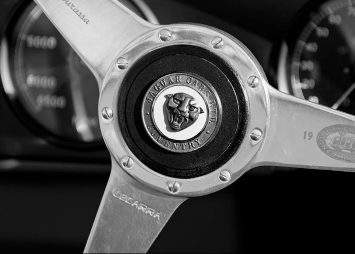 1951 Jaguar Steering Wheel Emblem Greeting Card featuring the photograph 1951 Jaguar Steering Wheel Emblem by Jill Reger