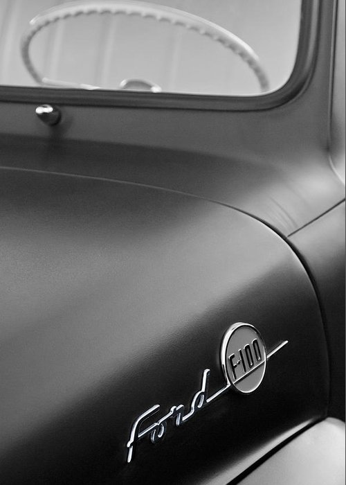 1953 Ford F-100 Pickup Truck Steering Wheel And Emblem Greeting Card featuring the photograph 1953 Ford F-100 Pickup Truck Steering Wheel And Emblem by Jill Reger