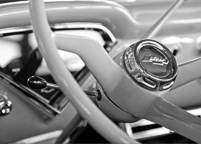 1957 Chevrolet Cameo Pickup Truck Steering Wheel Emblem Greeting Card featuring the photograph 1957 Chevrolet Cameo Pickup Truck Steering Wheel Emblem by Jill Reger